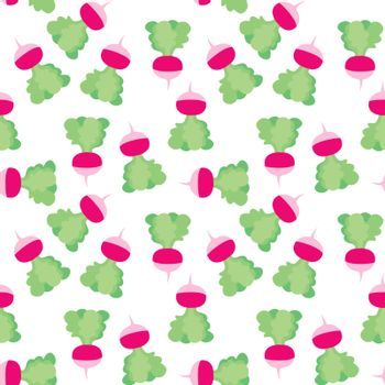 Seamless illustrated pattern made of radishes on white