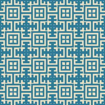 Seamless illustrated pattern made of abstract elements in beige and turquoise