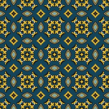 Seamless illustrated pattern made of abstract elements in beige, yellow, blue, gray and black
