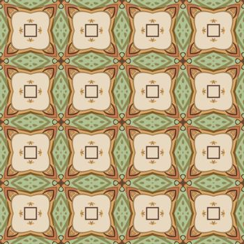 Seamless illustrated pattern made of abstract elements in beige, green, brown, orange and green