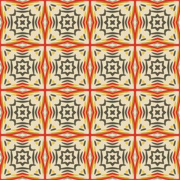 Seamless illustrated pattern made of abstract elements in beige, gray, yellow and red