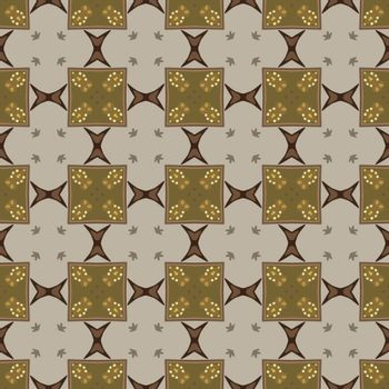 Seamless illustrated pattern made of abstract elements in beige, yellow, brown and gray