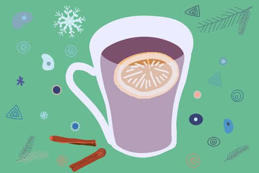 Mulled wine and winter decor hand drawn color illustration. Holiday composition with decorations. Flat style illustration. Festive greeting card, banner, poster sketch design.
