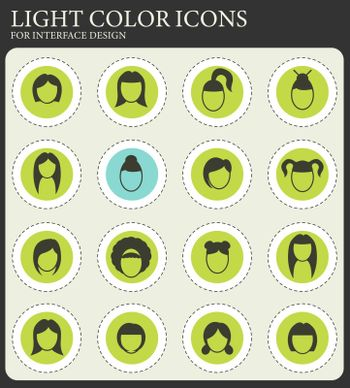hair silhouettes, woman hairstyle simply symbols for web and user interface