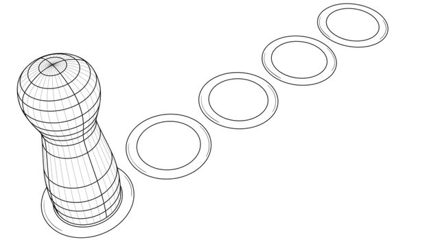 Game figure on board with path of dots. Black outline illustration on white background. Sketch.