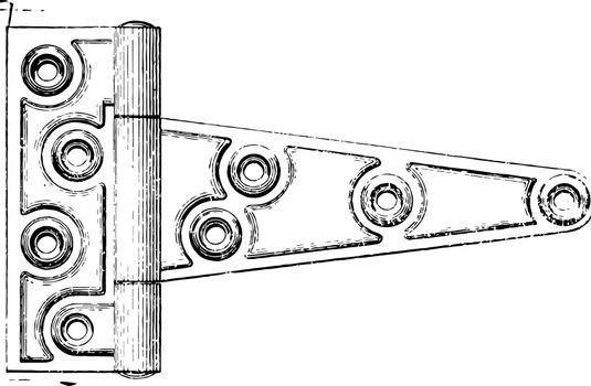 Door Style Hinge that connects two solid objects only a limited angle of rotation pivot style vintage line drawing or engraving illustration.