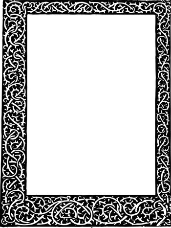 Thorn Stem Border have scrolls and intertwines all around vintage line drawing or engraving illustration.