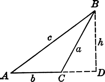 The image shows the obtuse triangle ABC with height h and is shown with dotted lines called hidden part or extra drawn part to calculate the other measures, vintage line drawing or engraving illustration.