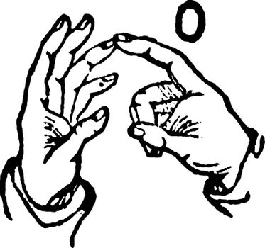 This image shows the two-hand sign for O, vintage line drawing or engraving illustration.