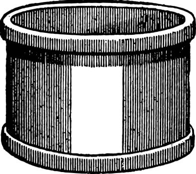 Picture shows a Bushel. It is identical in structure from Top and bottom. It is used for measurement, vintage line drawing or engraving illustration.