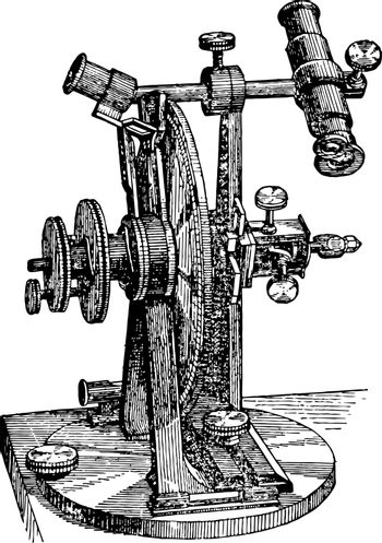 A picture showing Reflection Goniometer. An instrument to measure solid angles, or the inclination of the planes, particularly the angles formed by the faces of the crystals, vintage line drawing or engraving illustration.
