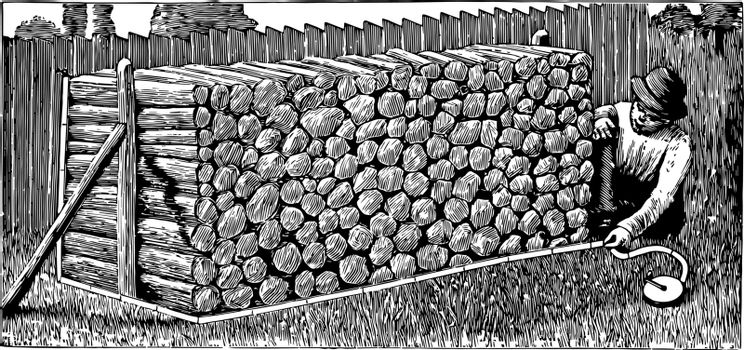 A man measuring the number of cords of wood in a pile with the help of measurement tape, vintage line drawing or engraving illustration.