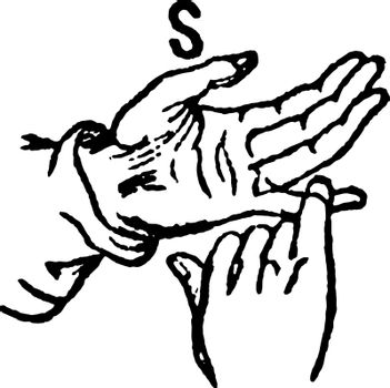 This image shows the two-hand sign for S, vintage line drawing or engraving illustration.