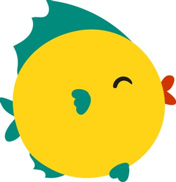 Cute yellow fish, illustration, vector on white background