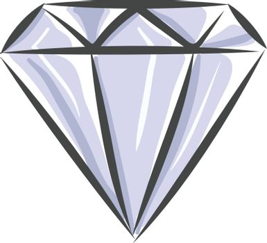 A sharp beautiful white diamond with cuts shining bright vector color drawing or illustration