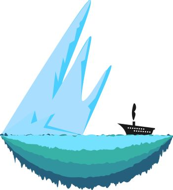 Sharp and big ice berg and a ship travelling towards it vector color drawing or illustration