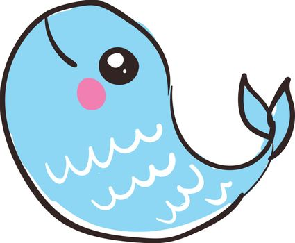 A blue fish with scales, with big eyes, with pink fin, vector, color drawing or illustration.