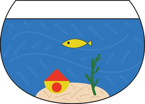 Aquarium is a transparent water container in which live fish and other aquatic animals or plants are kept., vector, color drawing or illustration.