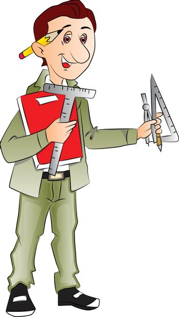 Vector of architect with measurement tools and book.