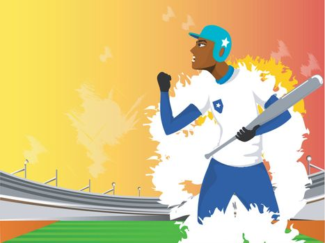 Illustration of aggressive baseball player on abstract stadium background, Sports concept.