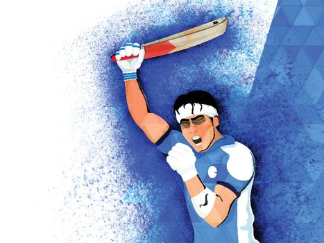 Aggressive Batsman expressing his emotions on abstract splash background for Cricket Concept.