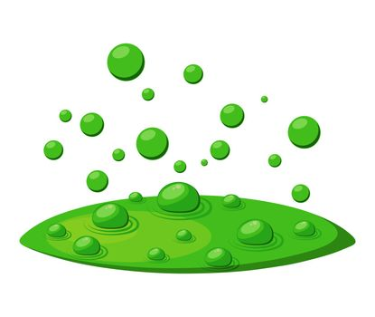 Poison toxic bubbles, green fumes, float vapor for witches brew isolated on white background