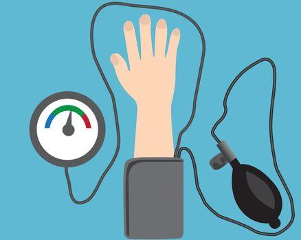 Blood pressure measuring device  cardio exam  vector illustration flat style