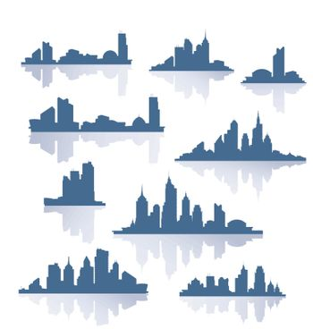 Various versions of the silhouettes of the city