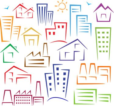 Schematic illustration of different types of houses of different colors on a white background