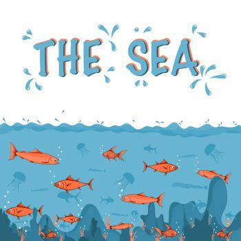 Deep ocean background and copy space for text. Marine life in underwater. Vector illustration cartoon.