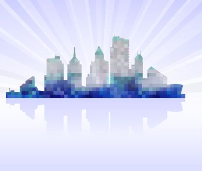 Urban silhouette of a modern city on the horizon