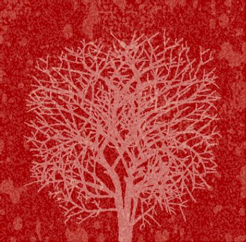 Red silhouette of a large tree at sunset. For the posters, posters, t-shirts and designs.
