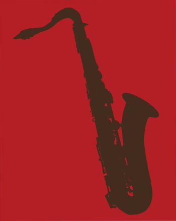 A saxophone silhouette on a red background