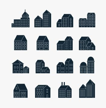 Set of icons of linear buildings, skyscrapers towers outlines of city icons