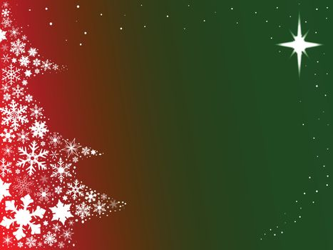 Red and green background with snowflakes in the form of a Christmas Tree.