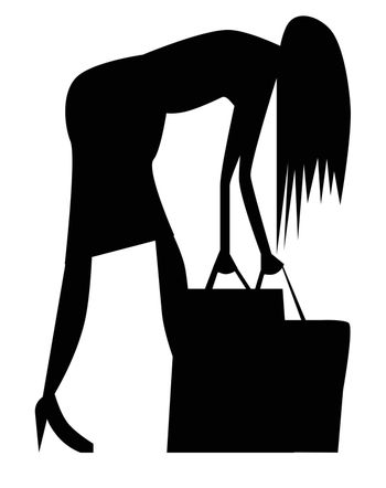 A cartoon woman in silhouette struggling with her shopping bags.