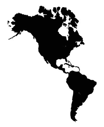 Silhgouette map of the Americas over a white background.
