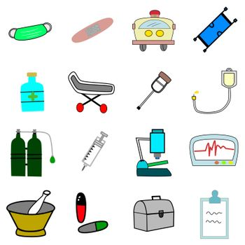 Impotence medical equipment in hospital,  mask, plaster, ambulance, cradle, medicine box, stretcher, crutch, IV bag, oxygen tank, syringe, microscope, ECG, mortar, medicine, bag, record board.