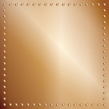 A bronze or copper plate background with a rivet border