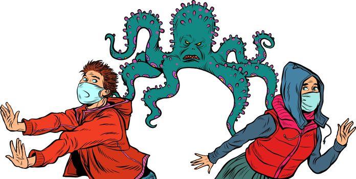 people are afraid of an epidemic. pandemic epidemic coronavirus covid19. Pop art retro vector illustration vintage kitsch 50s 60s style
