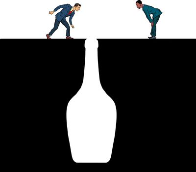 Alcoholics look into the bottle. Bottle of wine. Pit silhouette. Pop art retro vector illustration 50s 60s style