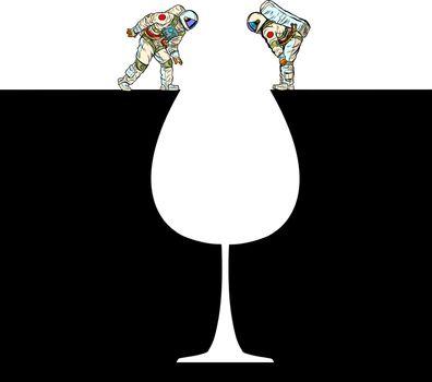 Astronauts on the edge . Glass of wine silhouette. Pop art retro vector illustration 50s 60s style