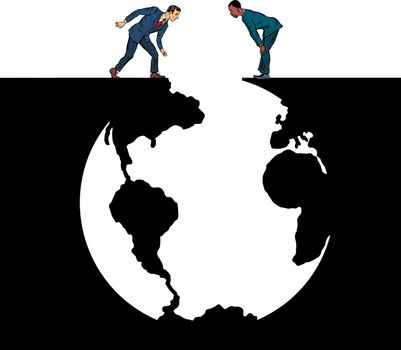 Humanity and the Earth Planet, Ecology. Pit silhouette. Pop art retro vector illustration 50s 60s style