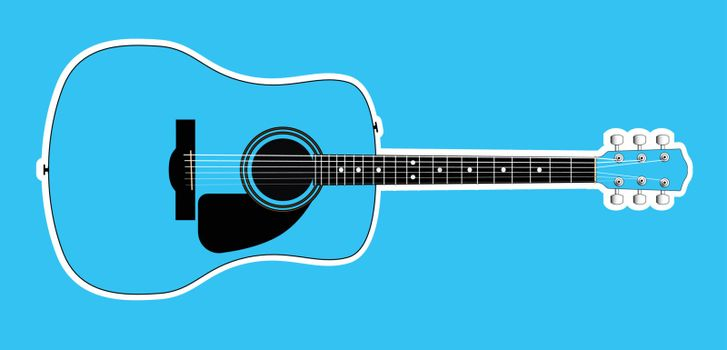 A blue acoustic guitar with white outline isolated over a blue background