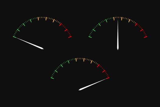 Set of simple vector tachometers with indicators in red, yellow and green part,  speedometer icon, performance measurement symbol on black background