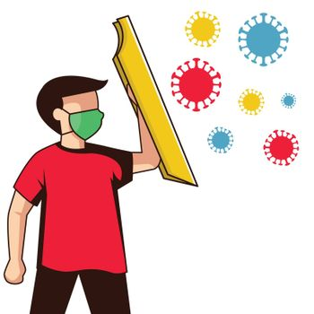 Illustration of a man holding a shield in his hand try to protect from viruses