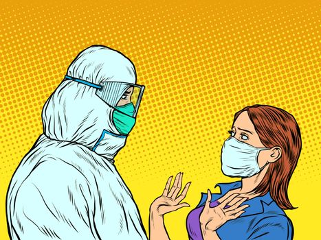 Doctor in protective suit and emotional patient woman. Pop art retro vector illustration vintage kitsch 50s 60s style