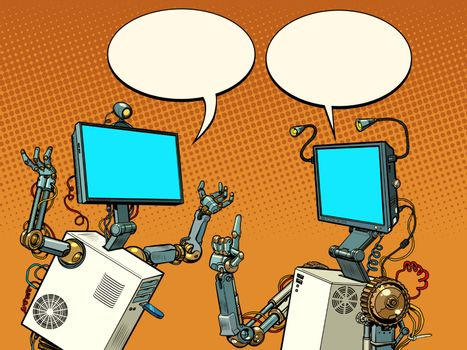 two robots communicate. Pop art retro vector illustration vintage kitsch 50s 60s style