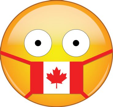Canadian emoji in a medical mask protecting from SARS, COVID-19, bird flu and other viruses, germs and bacteria and contagious disease as well as toxic smog and air pollution.