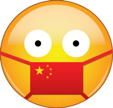Chinese emoji in a medical mask protecting from SARS, coronavirus, bird flu and other viruses, germs and bacteria as well as toxic smog and air pollution.